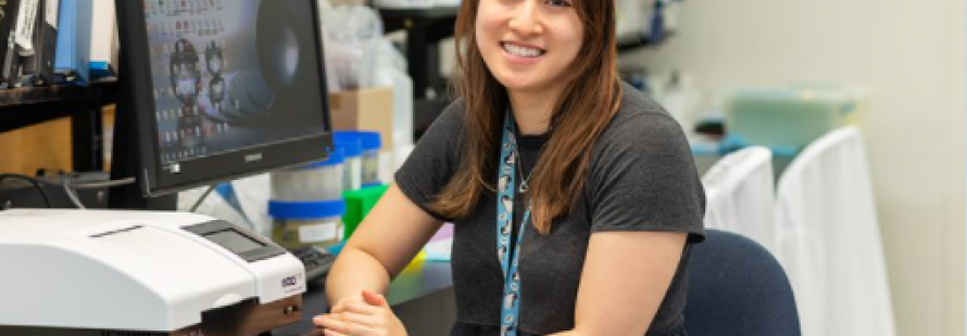 Angela Huynh, a medical student at Western's Schulich School of Medicine and Dentistry, has been researching a protein that causes the rare blood clot associated with the Astra Zeneca vaccine. Photo by James W. Smith